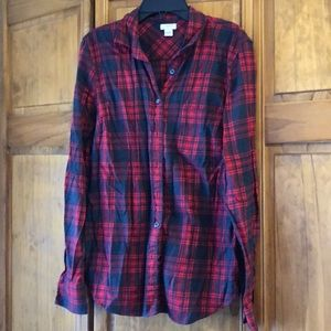 JCrew Factory Red & Charcoal Plaid Shirt Small